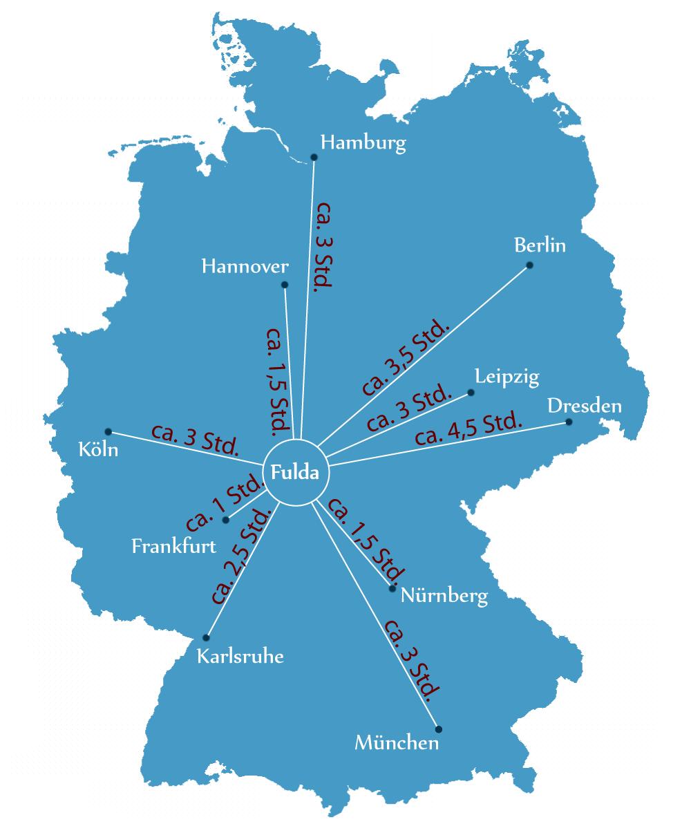 Zugverbindungen von Fulda in alle größeren Städte und deren Reisedauer